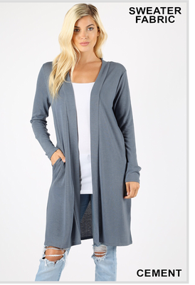 Open front sweater cardigan with pockets:cement