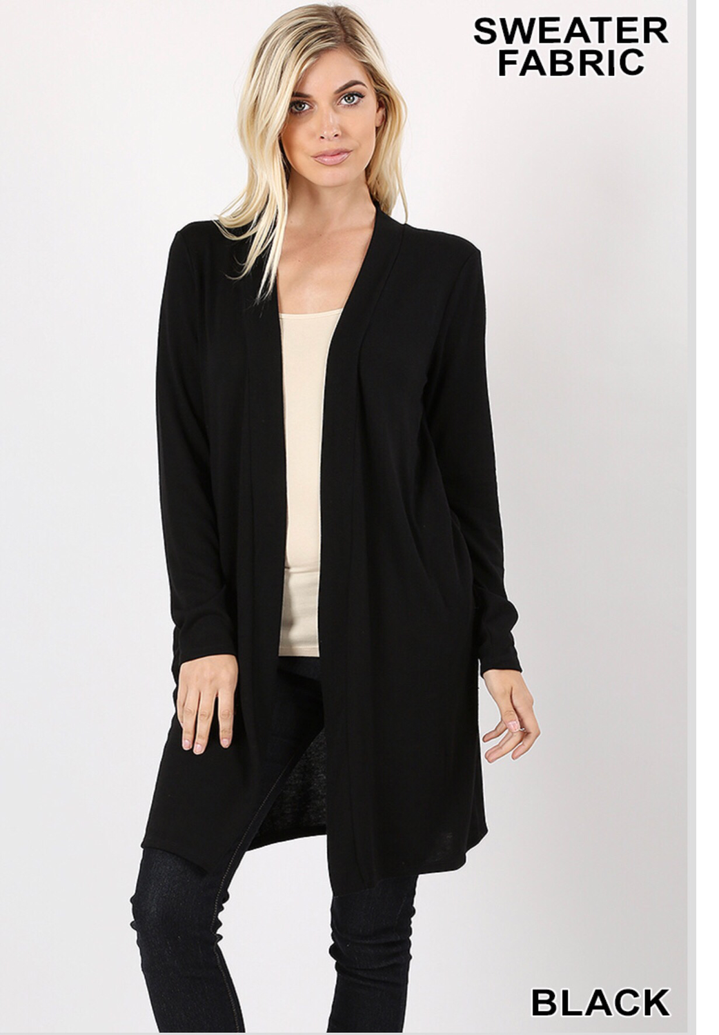 Open sweater front with pockets: black