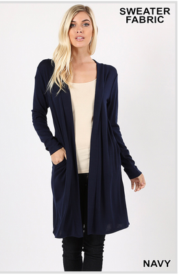Open front sweater with pockets: navy