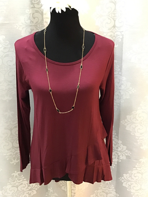 Solid Color Ruffle Top Plus