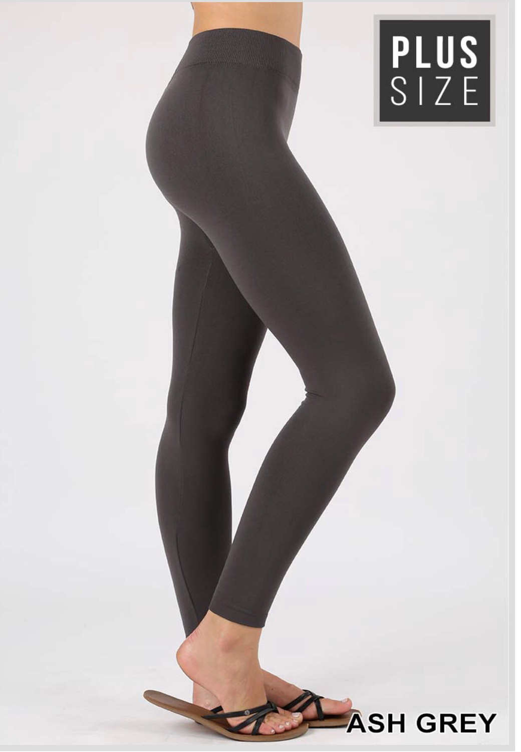 Plus seamless fleece leggings in ash gray