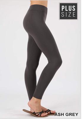 Plus seamless fleece leggings in ash gray