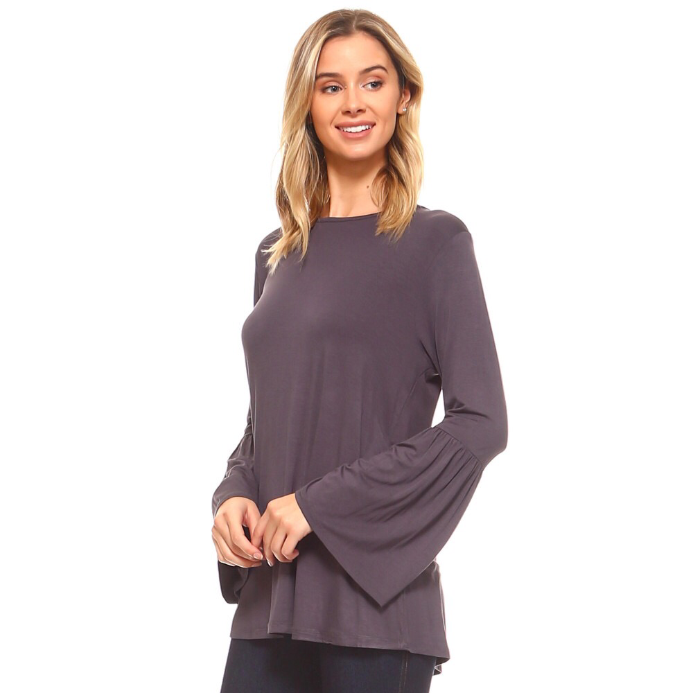 Gray bell sleeved top