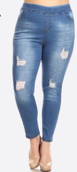 Distressed denim jegging plus sized