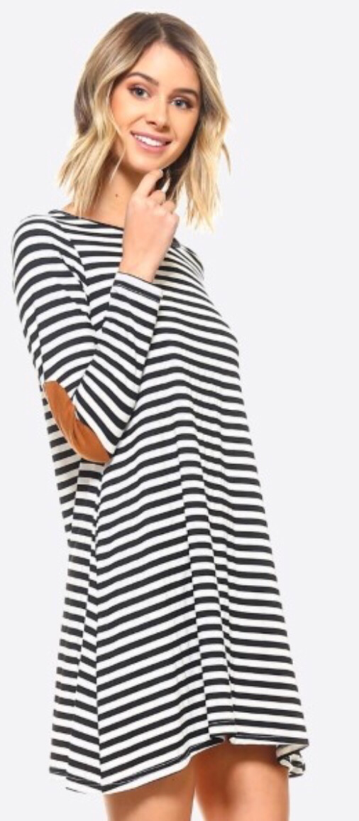 Striped dress w/ patched elbows