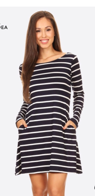 Long sleeve Navy & white Dress