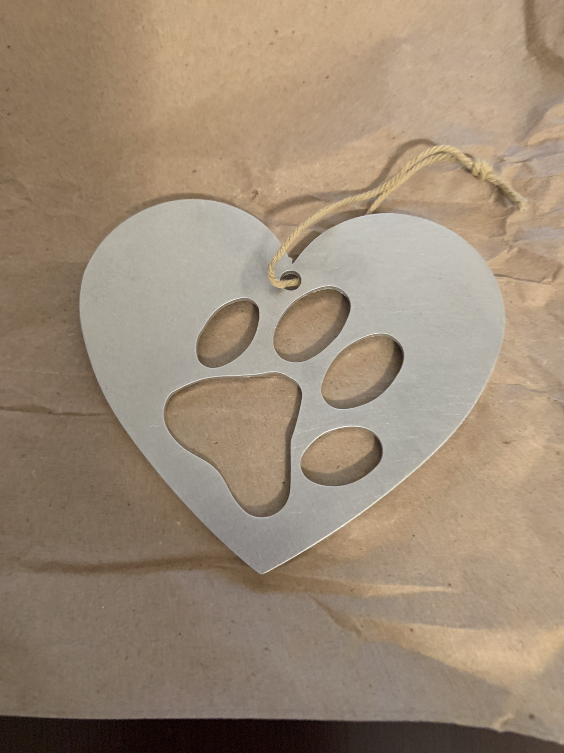 Paw print metal ornament
