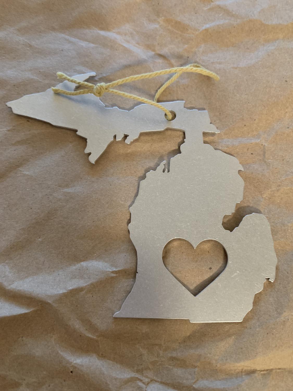 Michigan metal ornament
