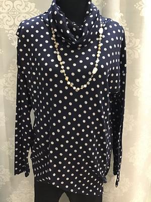 Polk-a-dot navy turtle neck sweater