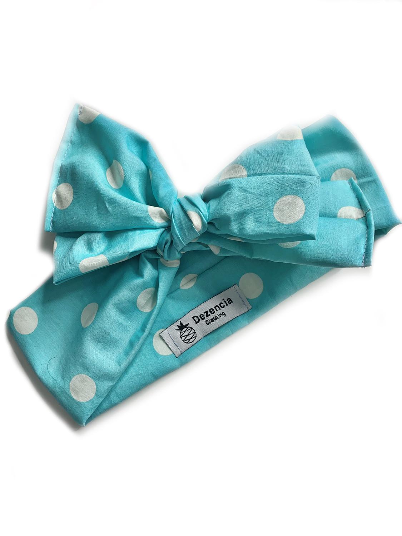 Turbante azul topos