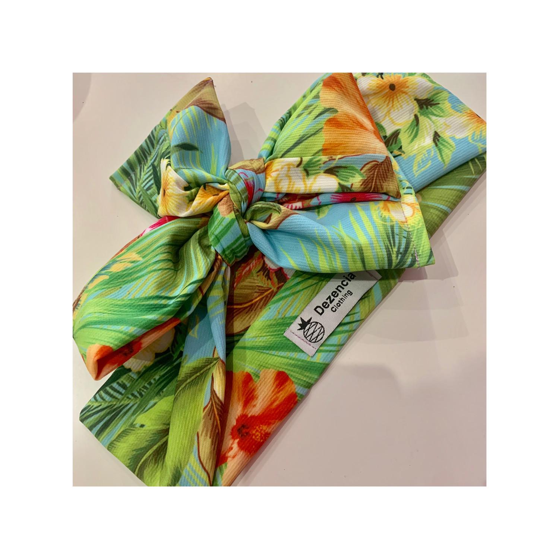 Turbante verde floral