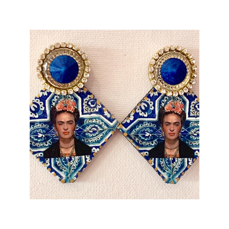 Pendiente Frida azul