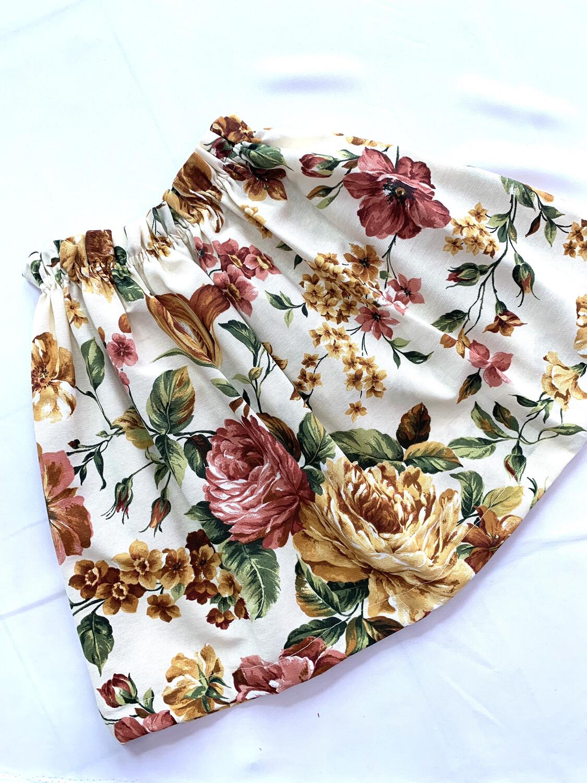 Falda beige floral