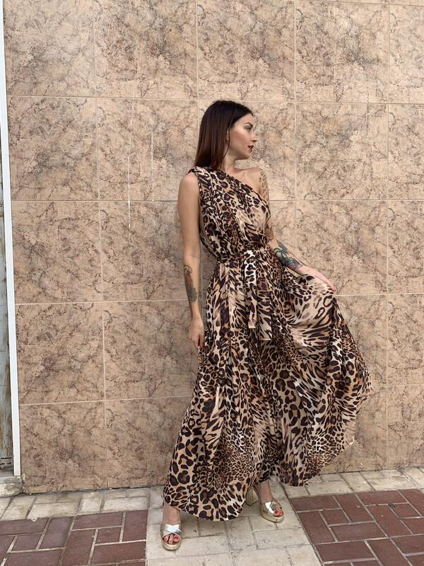 Vestido griego leopardo