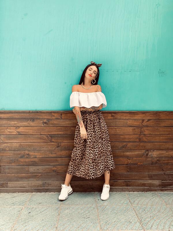 Falda midi/larga leopardo