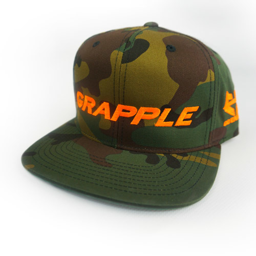GRAPPLE - Snapback Hat - Green Camo 04-001-000-00121-**-GRAPPLE_HatSnap_GreenCamoOrangeLtr_Mix