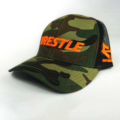 WRESTLE - Snapback Hat - Green Camo 04-001-000-00122-**-WRESTLE_HatSnapMeshBk_GreenCamo_OrangeLtr