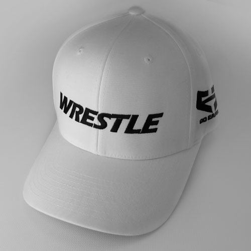 WRESTLE Fitted Hat - White 04-001-000-00102-**-WRESTLE_HatFit_WhtBILL_WhtTOP_BlkLTR-Mix-