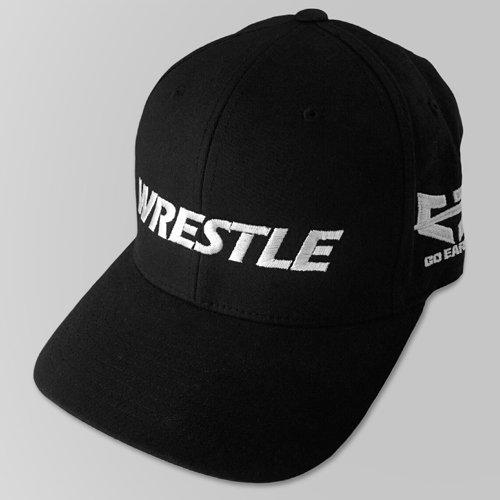 WRESTLE Fitted Hat - Black 04-001-000-00104-**-WRESTLE_HatFit_BlkBILL_BlkTOP_WhtLTR-Mix-