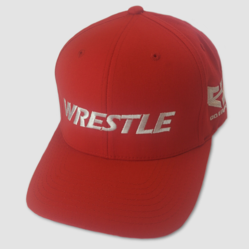 WRESTLE Fitted Hat - Red 04-001-000-00105-**-WRESTLE_HatFit_RedBILL_RedTOP_WhtLTR-Mix-