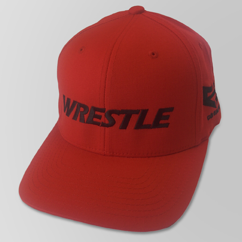 WRESTLE Fitted Hat - Red 04-001-000-00106-**-WRESTLE_HatFit_RedBILL_RedTOP_BlkLTR-Mix-