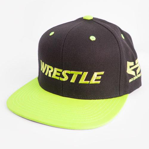 WRESTLE Snapback Hat - Black and Neon Yellow 04-001-000-00110-**-WRESTLE_HatSnap_YelBILL_BlkTOP_YelLTR-Mix-