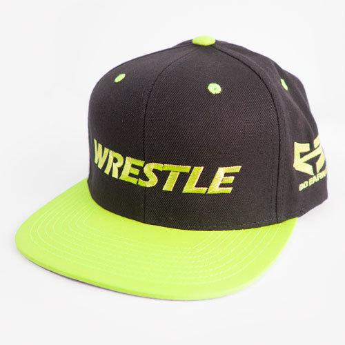 WRESTLE Snapback Hat - Black and Neon Yellow