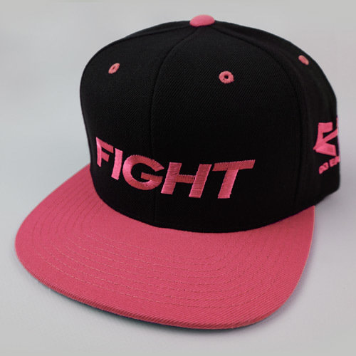 FIGHT Snapback Hat - Pink 04-001-000-00115-**-FIGHT_HatSnap_PnkBILL_BlkTOP_PnkLTR-Mix-