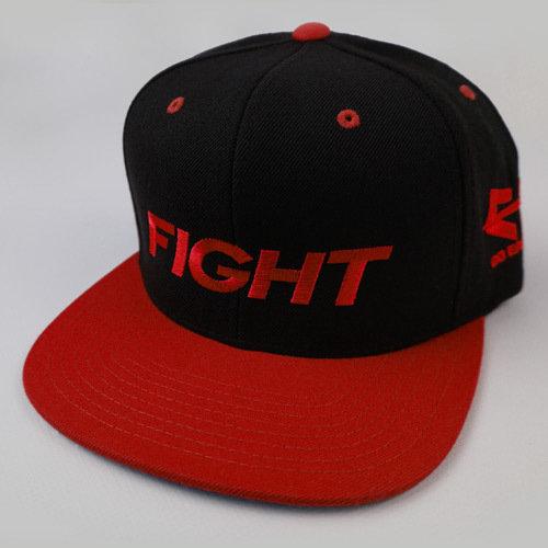 FIGHT Snapback Hat - Red 04-001-000-00117-**-FIGHT_HatSnap_RedBILL_BlkTOP_RedLTR-Mix-