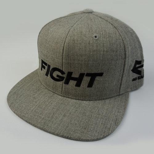 FIGHT Snapback Hat - Heather Gray 04-001-000-00118-**-FIGHT_HatSnap_GryBILL_GryTOP_BlkLTR-Mix-