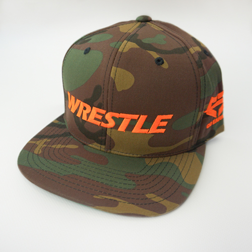 WRESTLE Snapback Hat - Camo 04-001-000-00115-**-WRESTLE_HatSnap_CamoBILL_CamoTOP_OrgLTR-Mix-