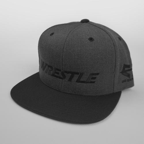 WRESTLE Snapback Hat - Black and Gray 04-001-000-00116-**-WRESTLE_HatSnap_BlackBILL_DkGryTOP_BlkLTR