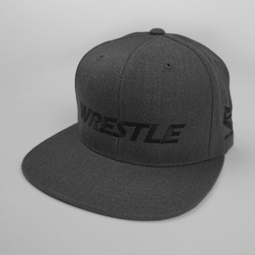 WRESTLE Snapback Hat - Dark Gray 04-001-000-00117-**-WRESTLE_HatSnap_BlackBILL_DkGryTOP_BlkLTR