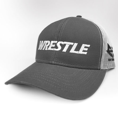 WRESTLE - Trucker Series - Gray 04-001-000-00125-**-WRESTLE_Trucker-GryBill_WhtMesh_WhtTxt
