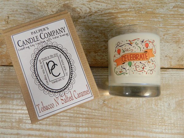 Choose - Your - Sticker - Message: CELEBRATE & then candle scent