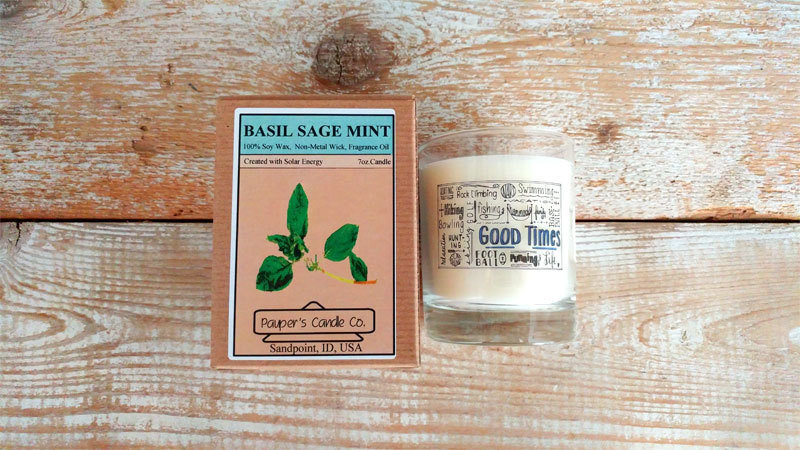 Choose - Your - Sticker - Message: GOOD TIMES & then candle scent