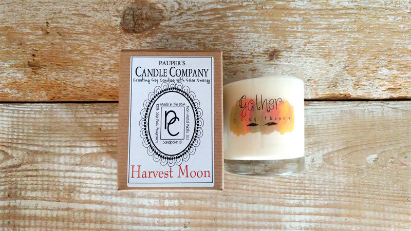 A Holiday Choose - Your - Sticker - Message: GATHER & then candle scent