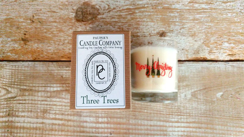 A Holiday Choose - Your - Sticker - Message: MERRY CHRISTMAS & then candle scent