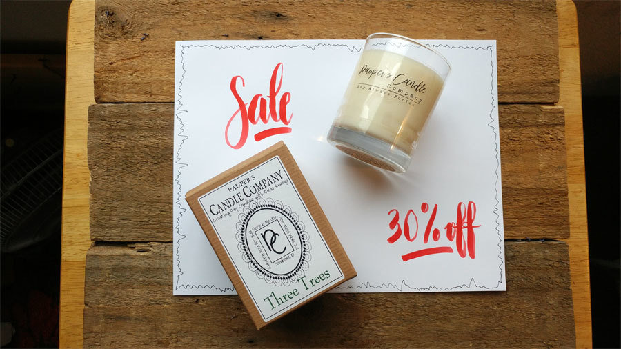 Christmas SALE - 30% Off !!!  Christmas Candles were $12.95 and are now