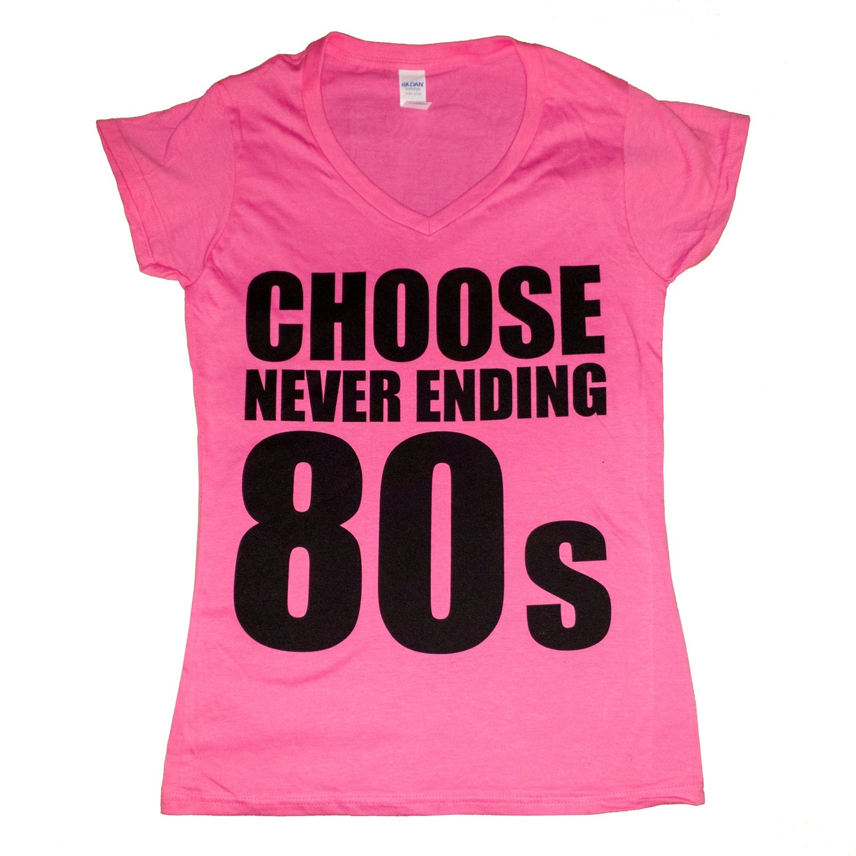 Choose NE80s Ladies Pink V Neck Tee