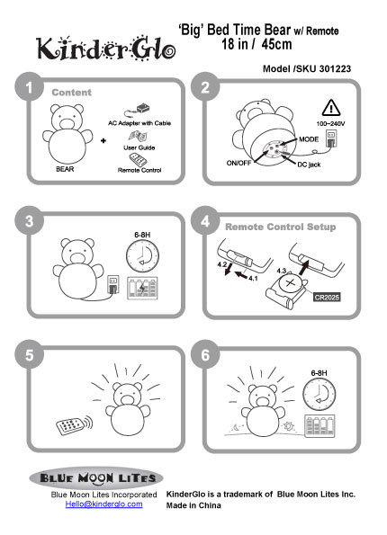 KinderGlo Big Bear Instructions