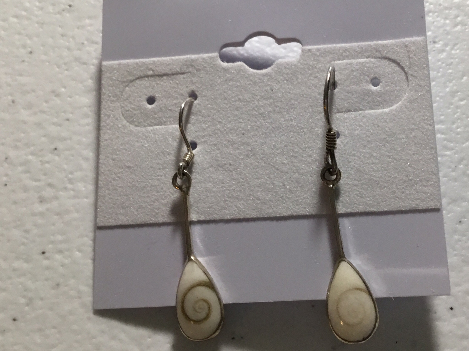 Sterling Silver Tiny Teardrop Shiva Shell Earrings