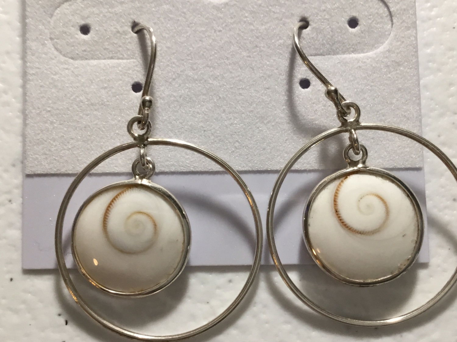 Sterling Silver Circle With Shiva Center Earrings