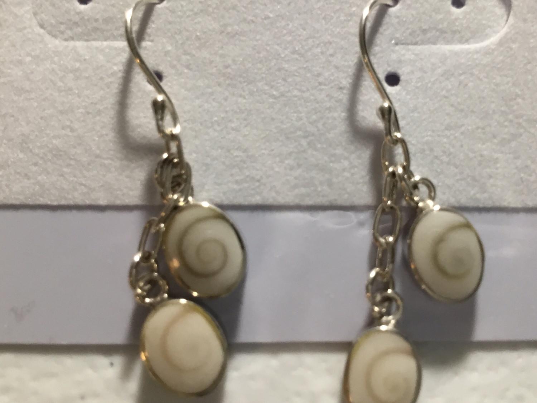 Sterling Silver Tiny Double Shiva Drop Earrings
