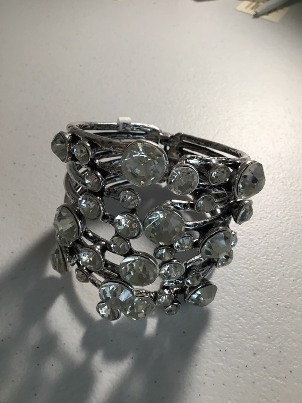 Silver Large Cuff with Lots of Crystals