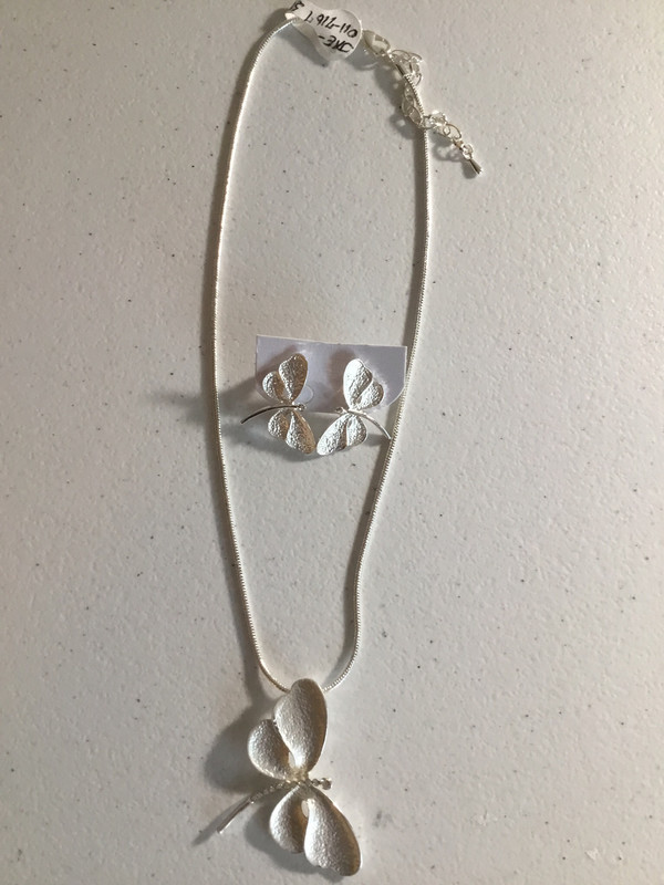 White Dragonfly Necklace Set