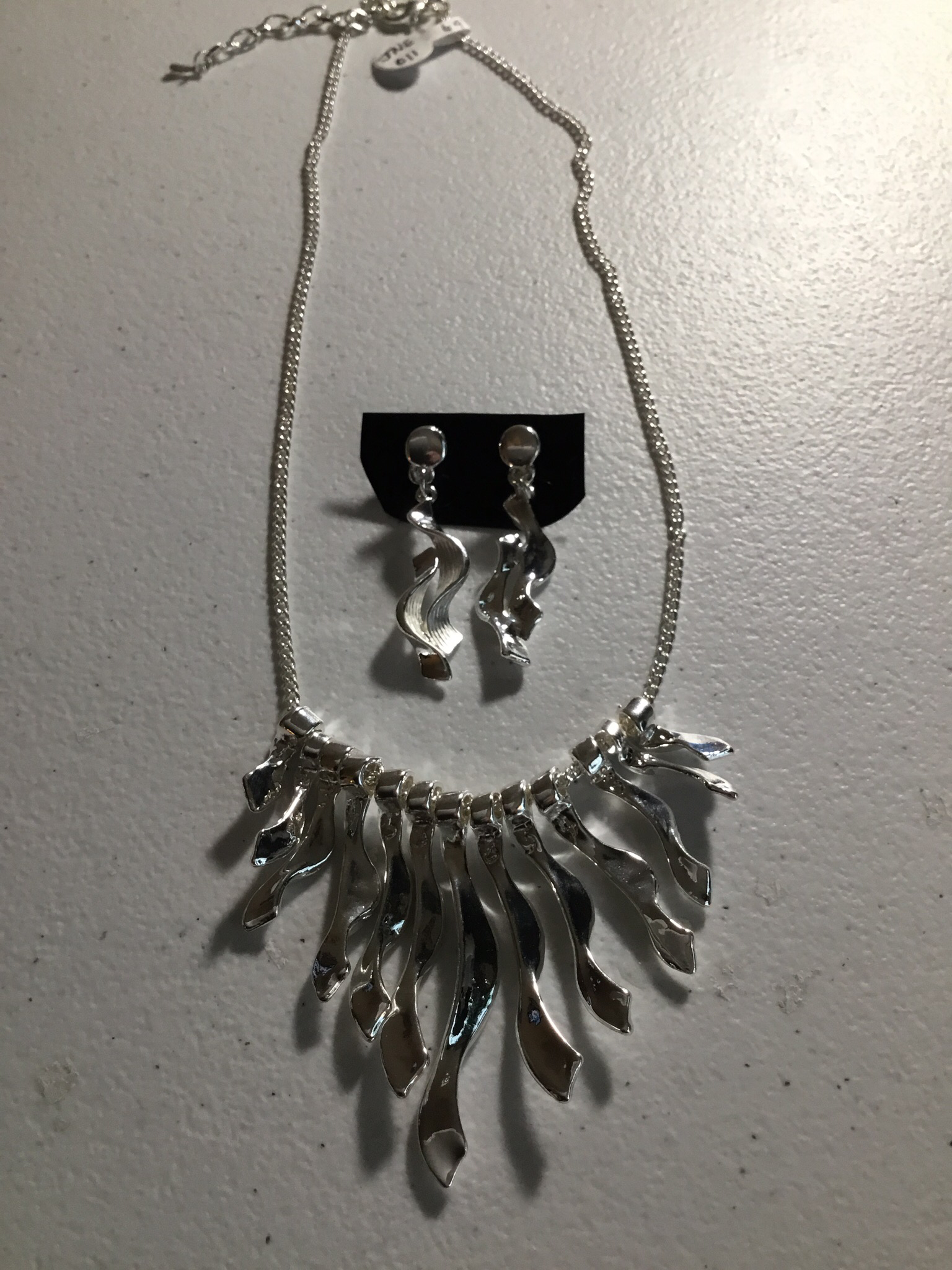 Silver Color Wave Necklace Set JNE-011-6975