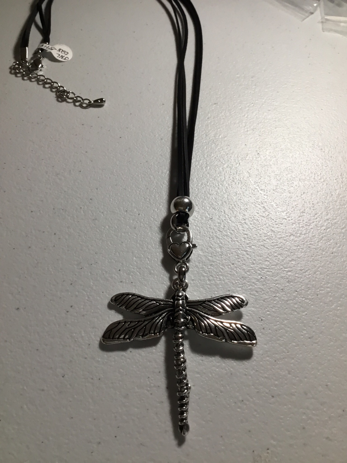 Black Leather with Antique Silver Dragonfly