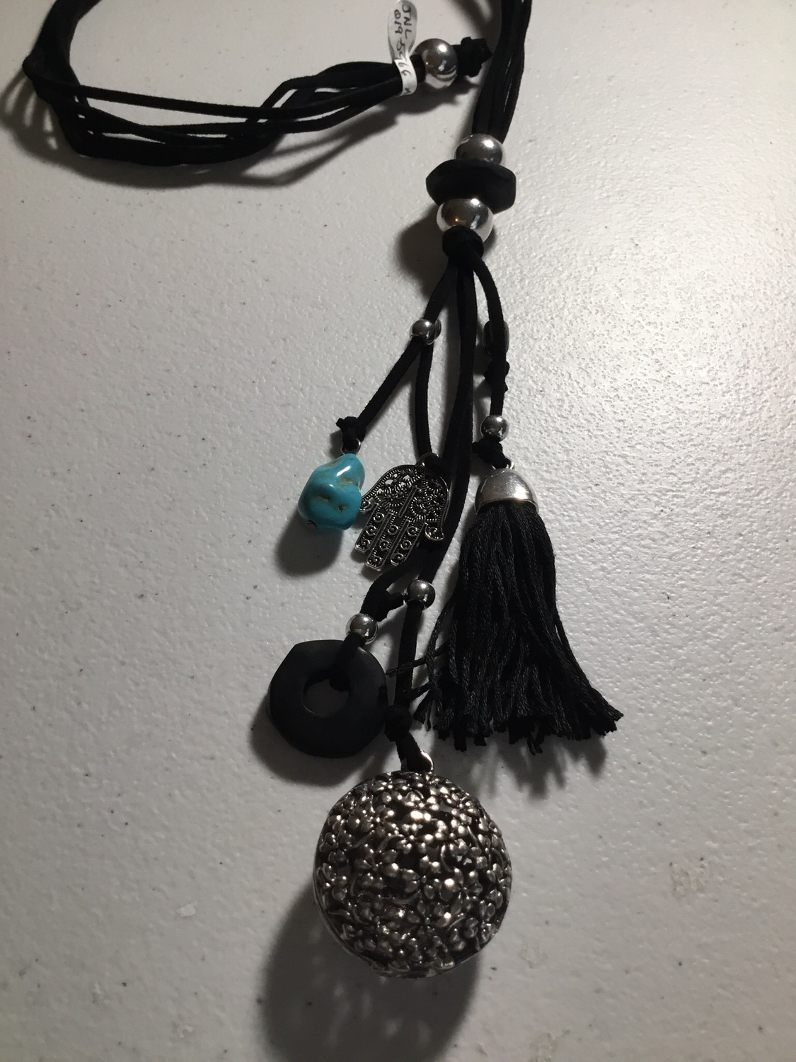Black Leather Antique Silver with Tassel
