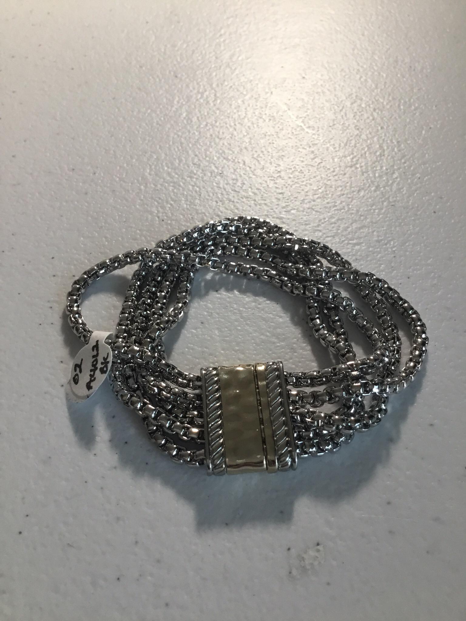 Five Row Silver Magnet Bracelet 02-A4012BK